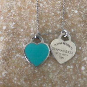 Tiffany double heart blue enamel big